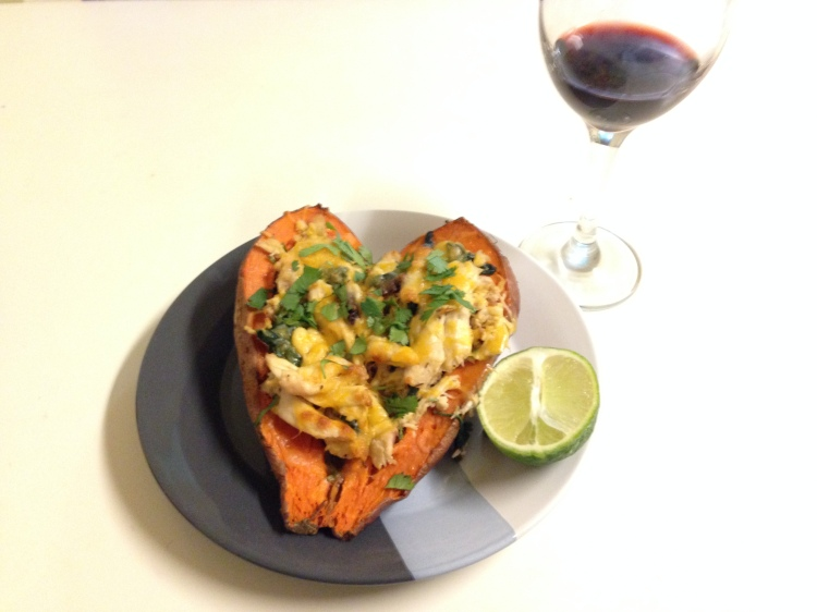 Chipotle Chicken Stuffed Sweet Potatoes - New Kid On The Guac
