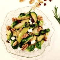 Brussels Sprouts Salad with Apples and Goat Cheese