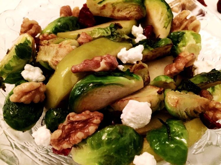 Brussel Sprouts Salad with Apples and Goat Cheese - New Kid On The Guac